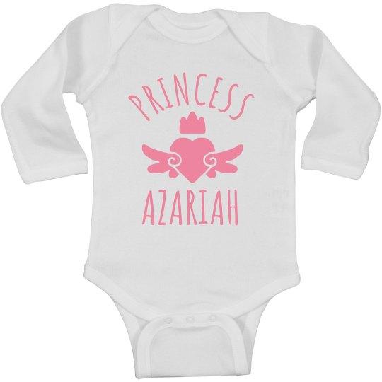 Cute Princess Azariah Heart Onesie