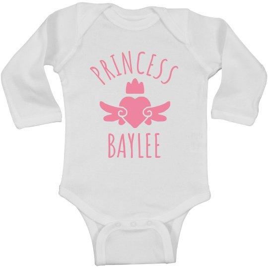 Cute Princess Baylee Heart Onesie