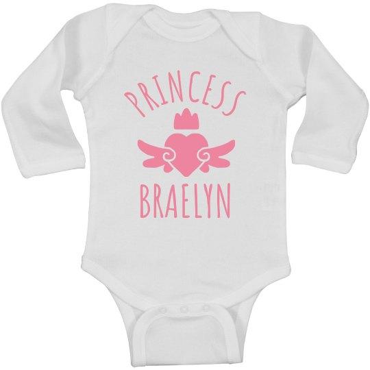 Cute Princess Braelyn Heart Onesie