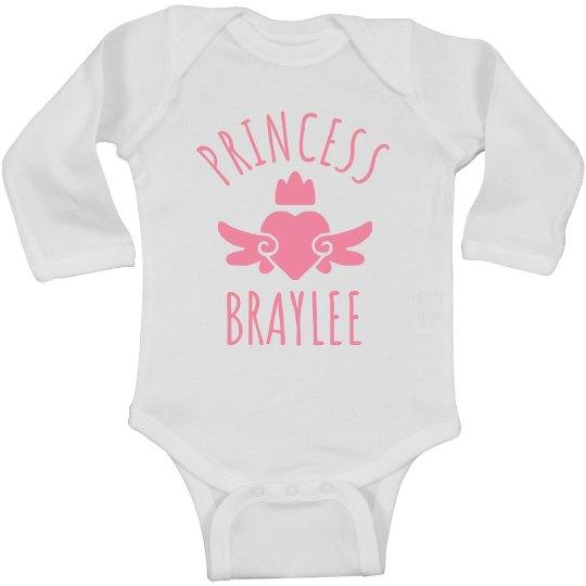 Cute Princess Braylee Heart Onesie