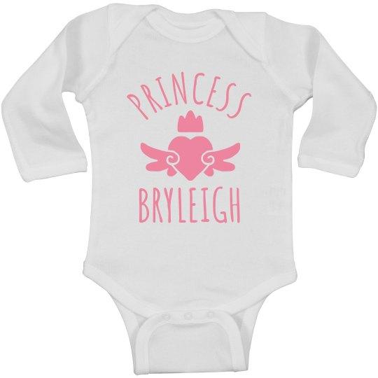 Cute Princess Bryleigh Heart Onesie
