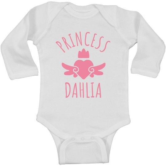 Cute Princess Dahlia Heart Onesie