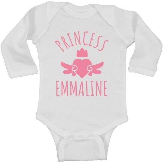 Cute Princess Emmaline Heart Onesie