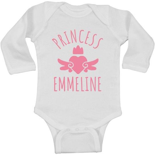 Cute Princess Emmeline Heart Onesie