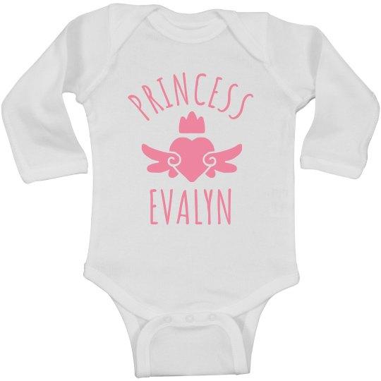 Cute Princess Evalyn Heart Onesie