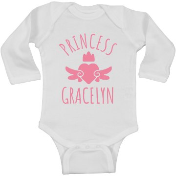 Cute Princess Gracelyn Heart Onesie