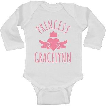 Cute Princess Gracelynn Heart Onesie