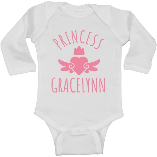 Cute Princess Gracelynn Heart Onesie