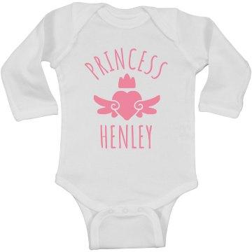 Cute Princess Henley Heart Onesie