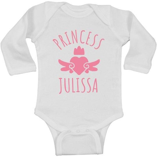 Cute Princess Julissa Heart Onesie