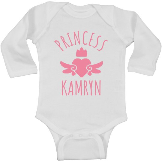 Cute Princess Kamryn Heart Onesie