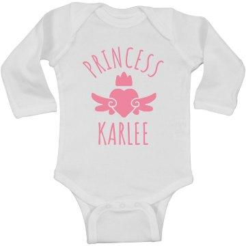 Cute Princess Karlee Heart Onesie