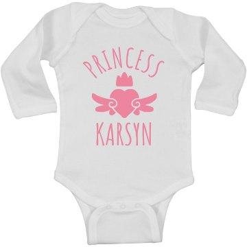 Cute Princess Karsyn Heart Onesie