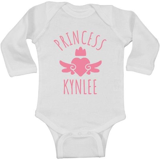 Cute Princess Kynlee Heart Onesie