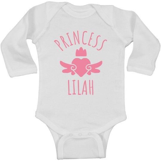Cute Princess Lilah Heart Onesie