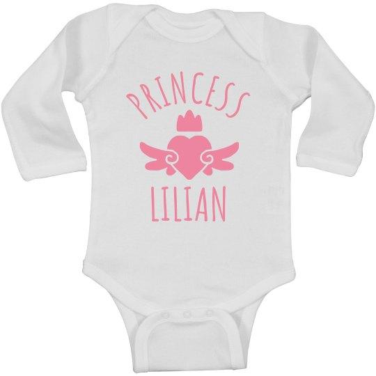 Cute Princess Lilian Heart Onesie