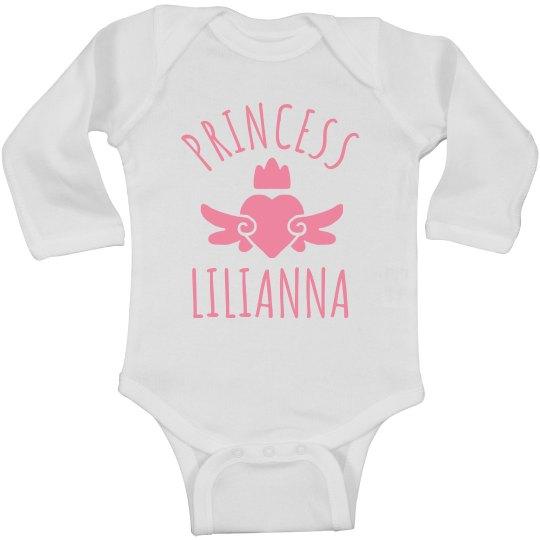 Cute Princess Lilianna Heart Onesie
