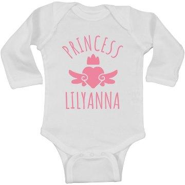 Cute Princess Lilyanna Heart Onesie