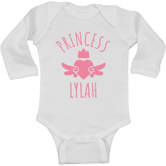 Cute Princess Lylah Heart Onesie