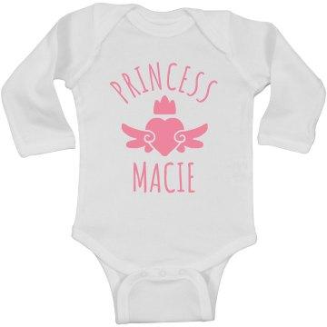 Cute Princess Macie Heart Onesie