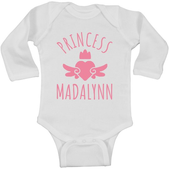 Cute Princess Madalynn Heart Onesie