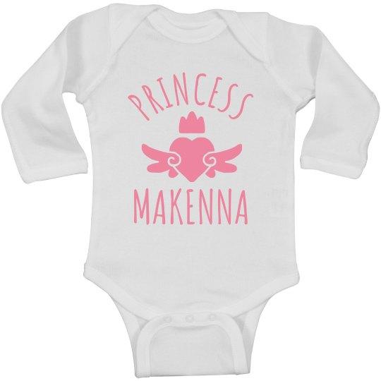 Cute Princess Makenna Heart Onesie