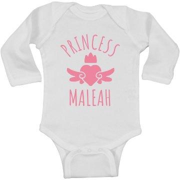 Cute Princess Maleah Heart Onesie