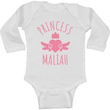 Cute Princess Maliah Heart Onesie