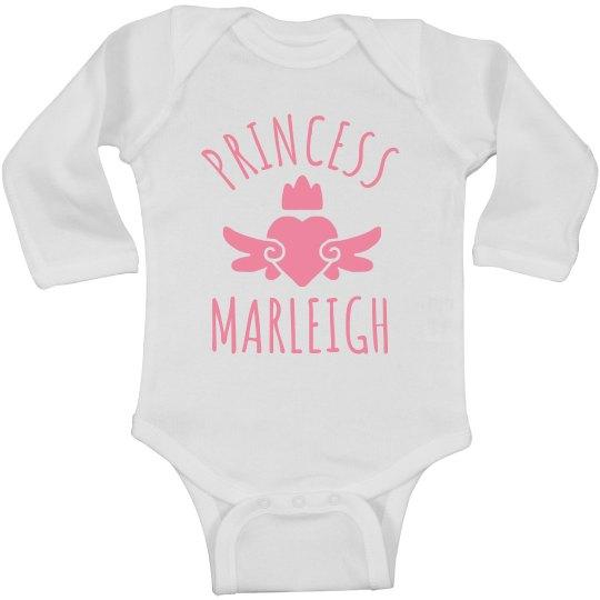 Cute Princess Marleigh Heart Onesie