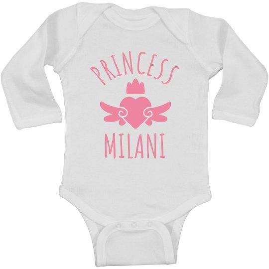Cute Princess Milani Heart Onesie