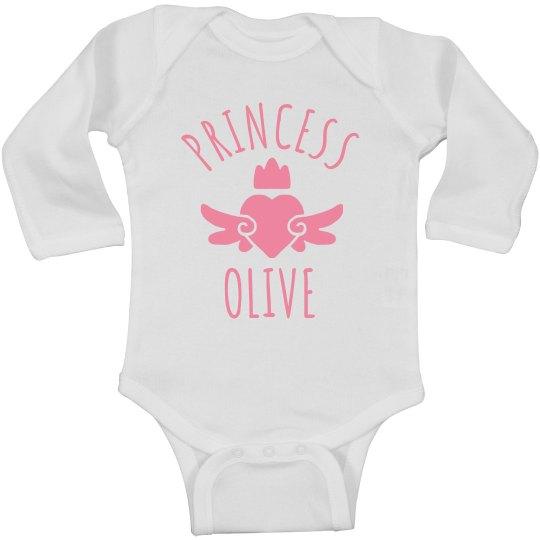 Cute Princess Olive Heart Onesie