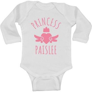 Cute Princess Paislee Heart Onesie