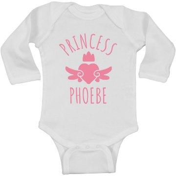 Cute Princess Phoebe Heart Onesie