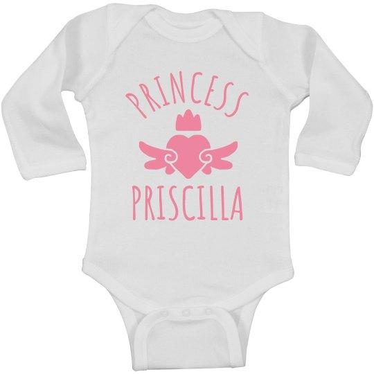 Cute Princess Priscilla Heart Onesie