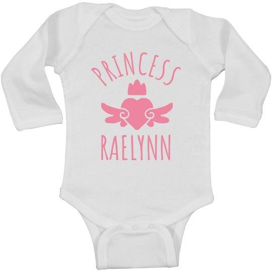 Cute Princess Raelynn Heart Onesie