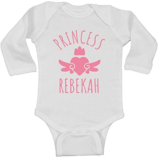 Cute Princess Rebekah Heart Onesie