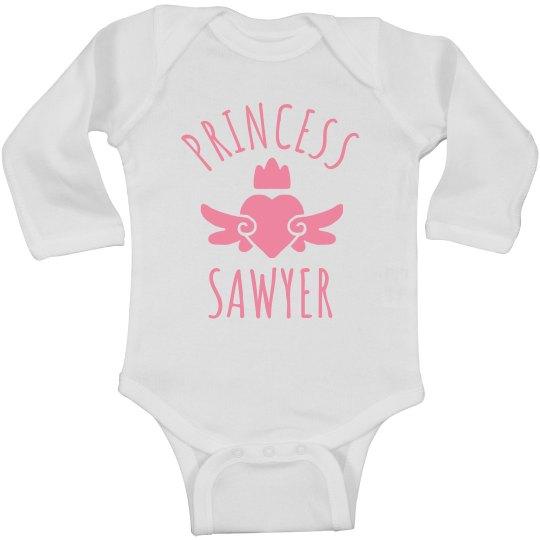 Cute Princess Sawyer Heart Onesie