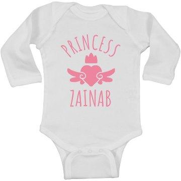 Cute Princess Zainab Heart Onesie