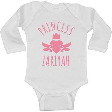 Cute Princess Zariyah Heart Onesie