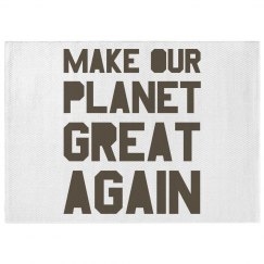 Make our planet great again brown dobby rug.
