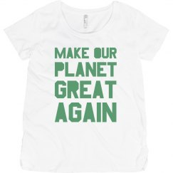 Make our planet great again light green maternity shirt
