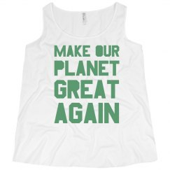 Make our planet great again light green plus size tank.