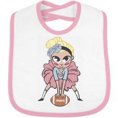 Tutu Football Girl Bib