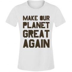 Make our planet great again brown junior shirt.