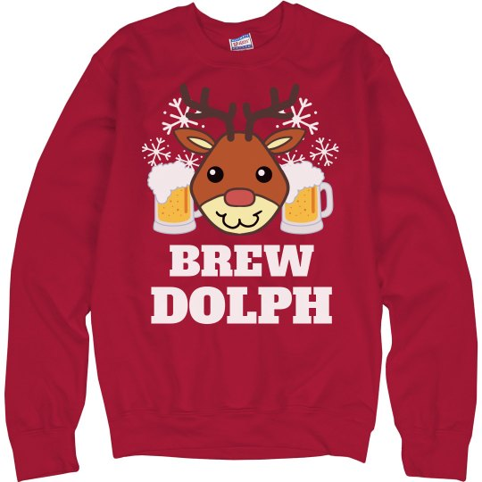 Beer Christmas Sweater.Brew Dolph Beer Christmas Sweater