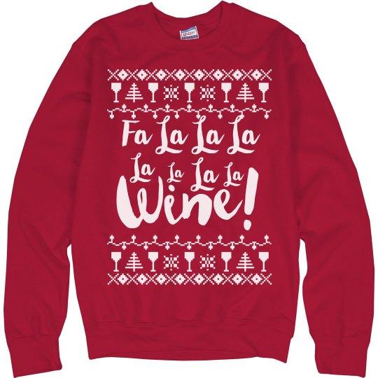 fa la la la wine christmas sweater