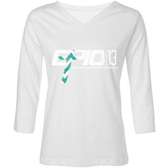 E.P.I.C. 4:13 - Women's 3 Quarter Shirt w/ teal in logo