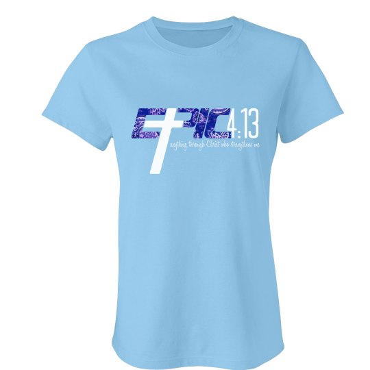 E.P.I.C. 4:13 - Women's T-Shirt with Blue Paisley Logo
