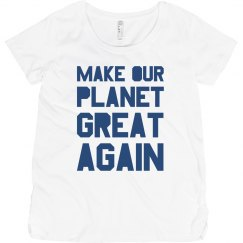 Make our planet great again blue maternity shirt.
