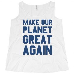 Make our planet great again blue plus size tank top.
